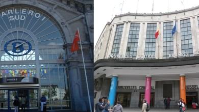 صورة التهديد بالقنابل في محطتي la gare centrale و Charleroi-Sud في اليوم الاول من الغاء الحظر