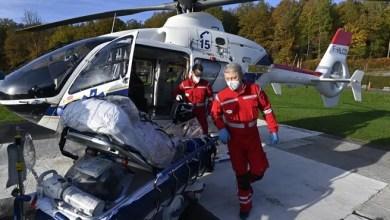 صورة نقل أول مريض بفيروس كورونا بطائرة هليكوبتر من مستشفى CHU de Liège الى المانيا