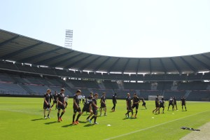 The Belgian squad train in the Brussels sunshine