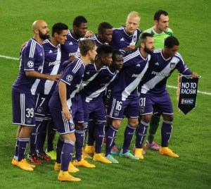 Dennis Praet (front left) and Silvio Proto line up before facing Arsenal. (copyright John Chapman)