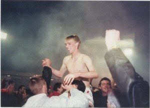 Luke Chadwick on the night that Antwerp won the second division title in 2002.