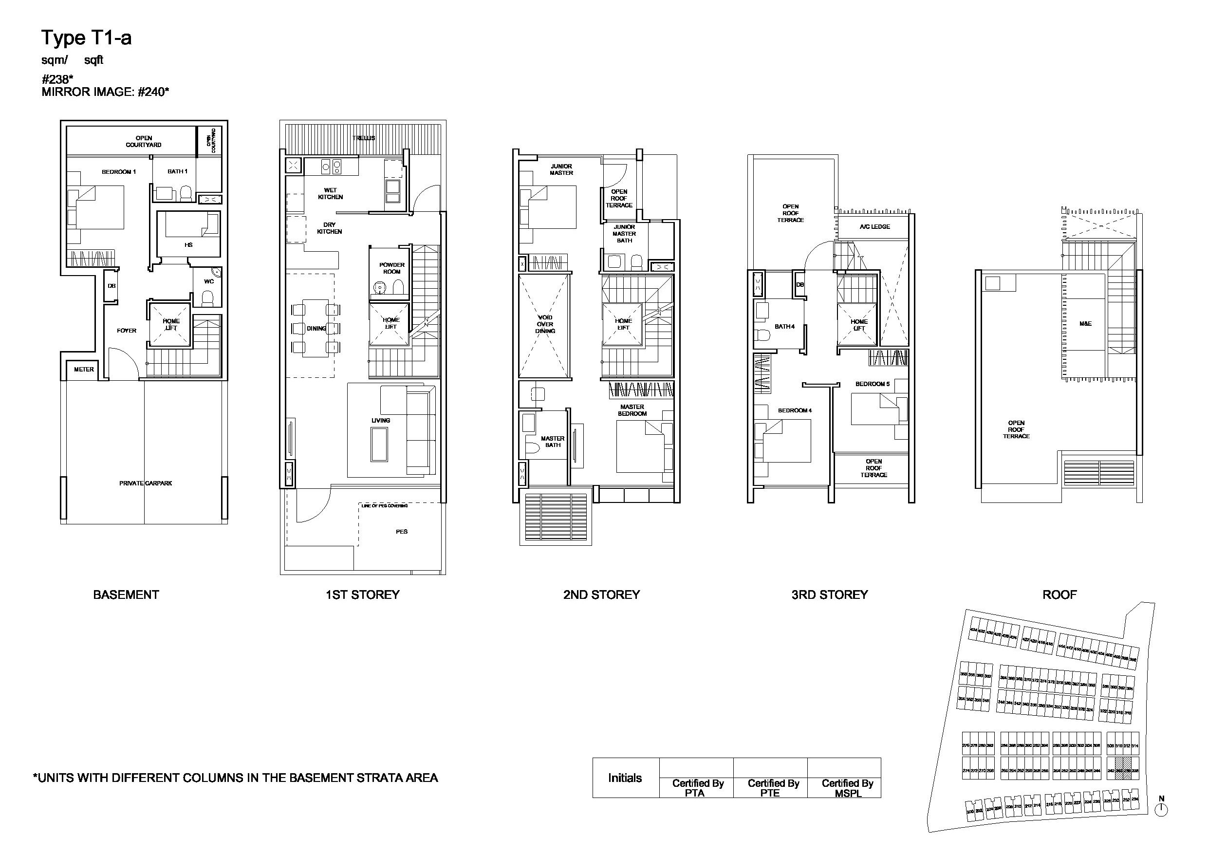 Belgravia Villas Semi Detached Type T1a Floor Plans