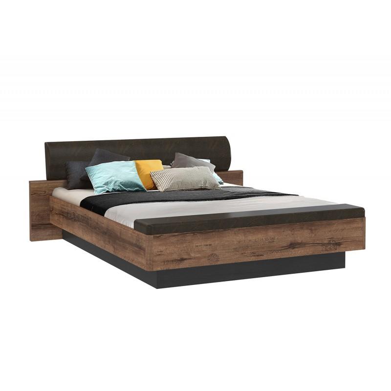 lit double 160x200 avec coffre de rangement decor vieux chene et simili vieillis marrons jack
