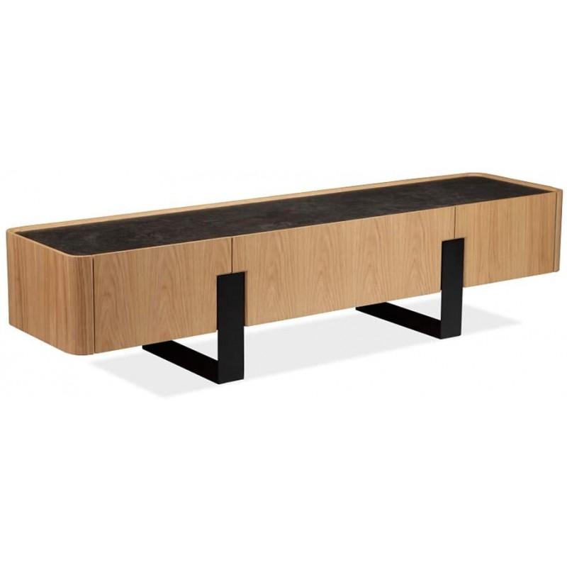 meuble tv 3 tiroirs en ceramique bois metal odessa