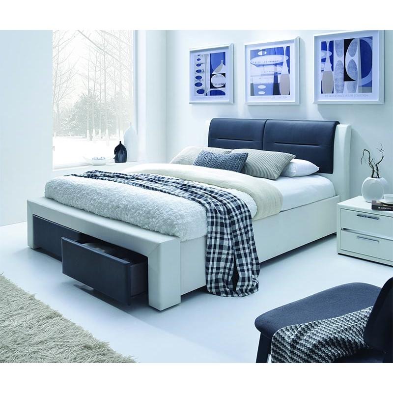 Chello  Lit 2 places 140x190 cm noir et blanc