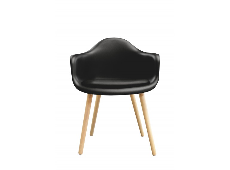 chaise noire accoudoir design scandinave andrew