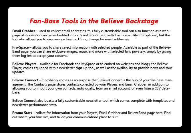 fan base building tools from Believe
