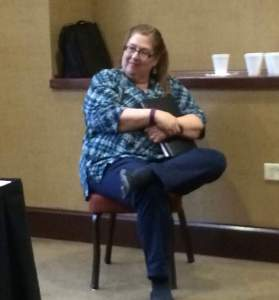 Me happily listening to my panel of authors