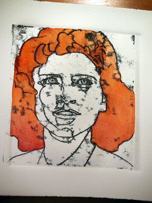 a linear trace monotype of a young girl's face with the first washes of red hair in watercolor