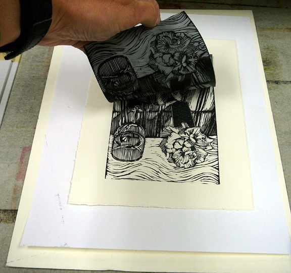 printing a black and white linocut