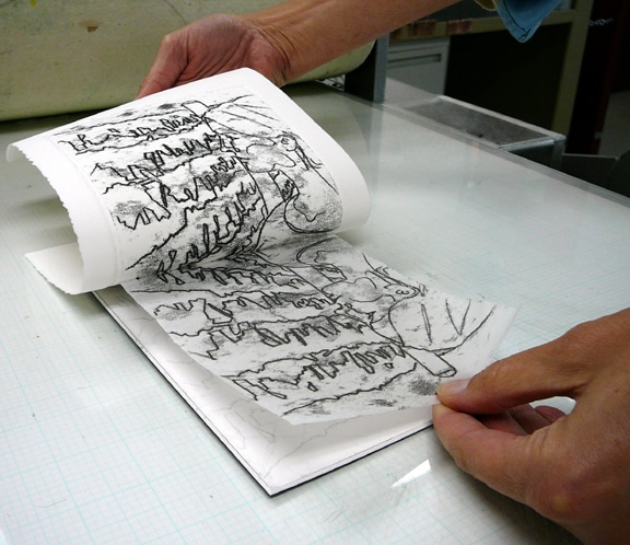 Printing a trace monotype from a still-wet trace monotype to make even more art, but in reverse