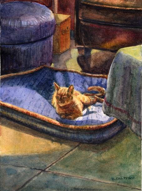an orange striped kitten snoozing in the sun on a very large dog bed, in watercolor