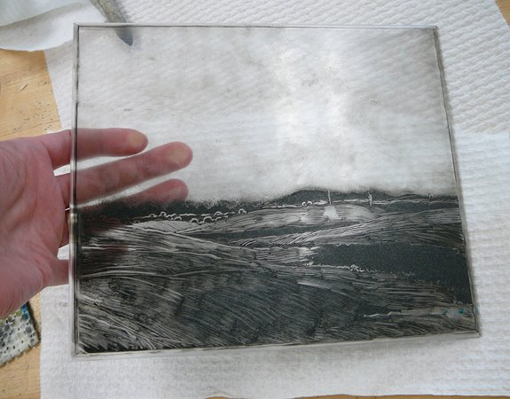 making a dark field monotype from acrylic plate