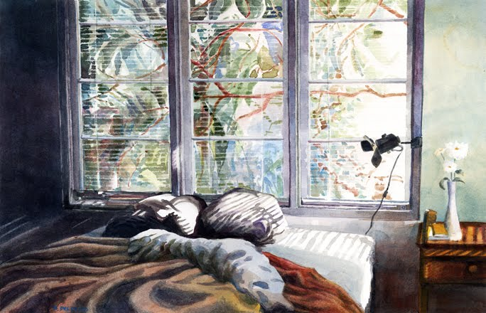watercolor of a window and rumpled bed