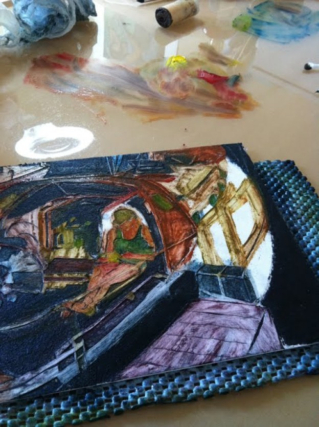 how to ink a collagraph using the a la poupee method