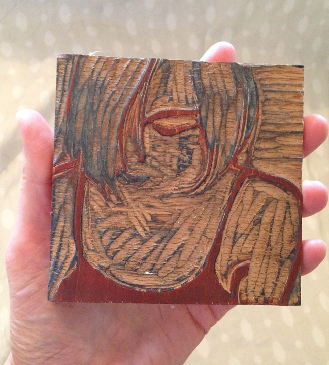 shina wood block carved and inked printmaking process