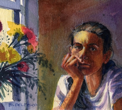 a watercolor portrait of the artist resting a chin on her hand