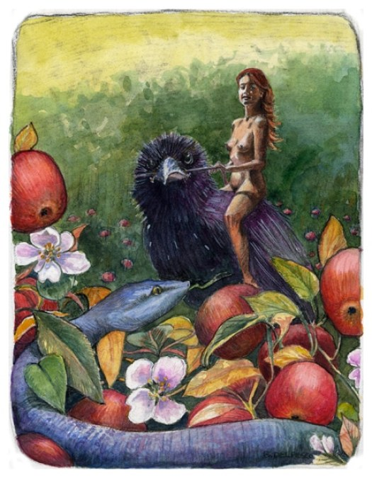 a woman riding a crow, with an apple tree in the foreground, hiding a blue snake, painted in watercolor and charcoal together