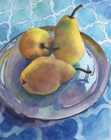 Pen and Ink with Watercolor of a still life with three pears on a plate