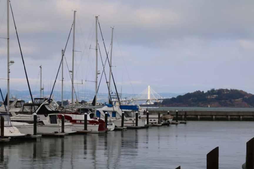 Aquatic Cove marina and Oakland Bay Bridge