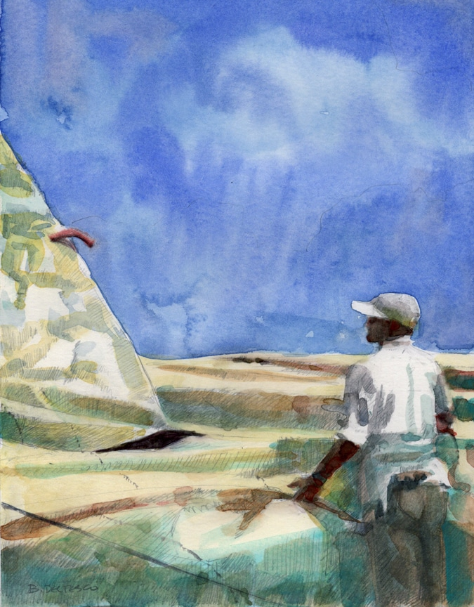 Watercolor: Flaking Sails - and Artist Newsletters and Email Lists
