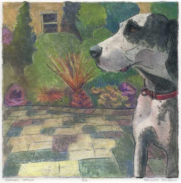 A collagraph of a great Dane dog standing in a garden, in profile, watching intently