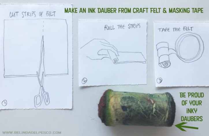 pencil drawn diagrams for cutting and rolling felt daubers for a la poupee printmaking
