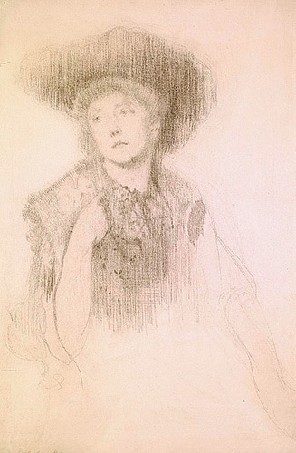 A woman in a large hat with her hand raised to her collar bone, looking to the left, in pencil