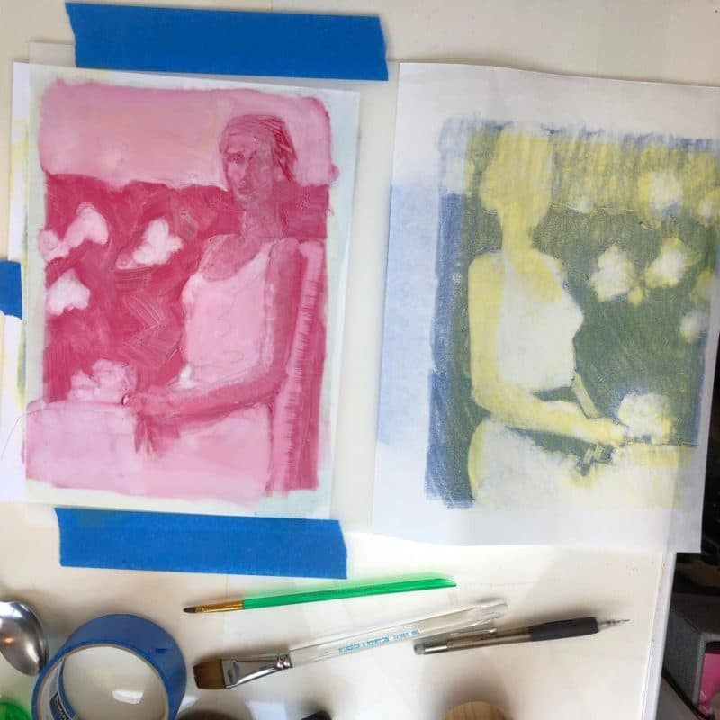 monoprint printmaking set up