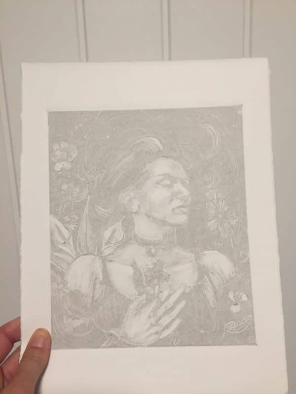 a faint print of a woman floating among flowers, loosely rendered on white paper in gray ink