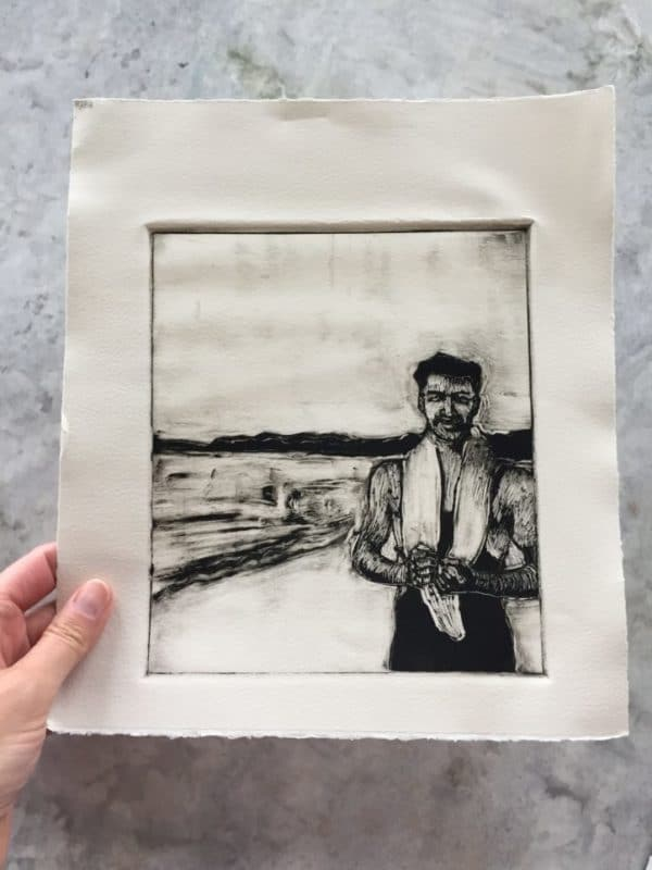 a warbled sheet of printmaking paper with a rough ink monotype of a man standing on the beach in a 1930's bathing suit