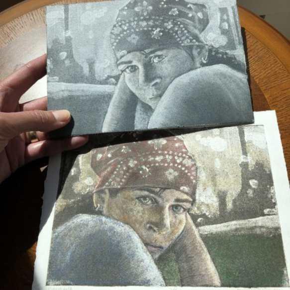 Silk Aquatint print of a woman in a bandana