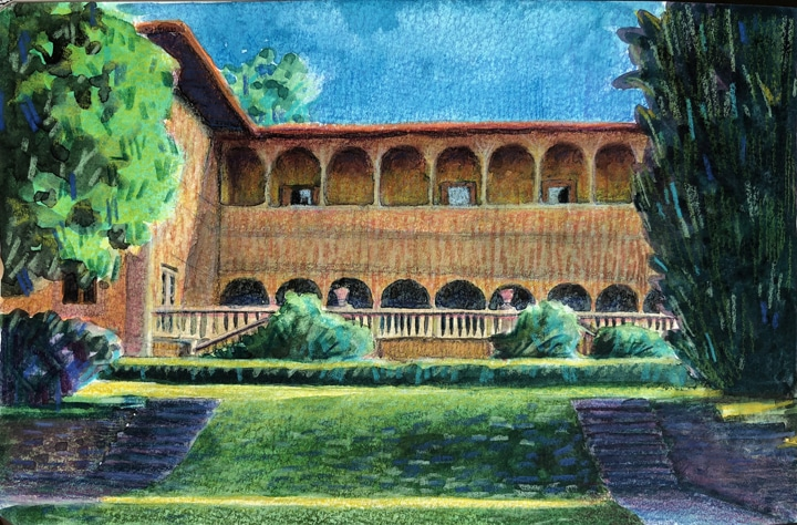 standing on a sloped lawn, bookended by cypress trees, looking up at an italian villa with a second story arcade and blue skies beyond