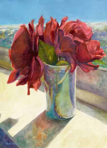 a bud vase woth bright red roses on a sunny windowsill in watercolor