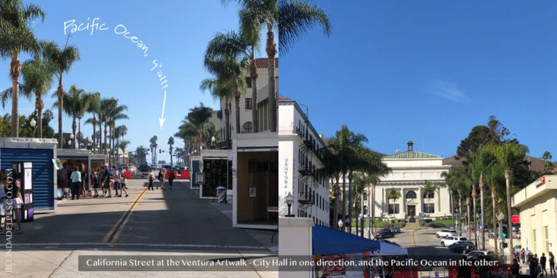 Two views looking up towards City Hall and down towards the beach on California Street in Ventura