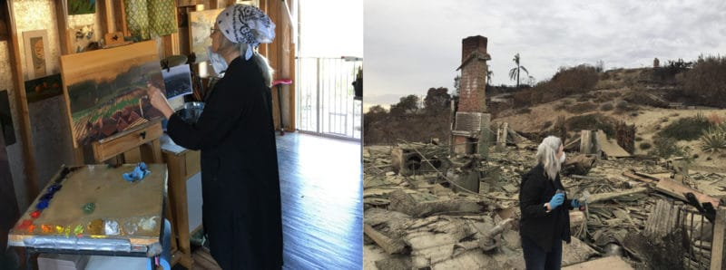 a woman painting in an art studio, and the same woman standing before a burned down house