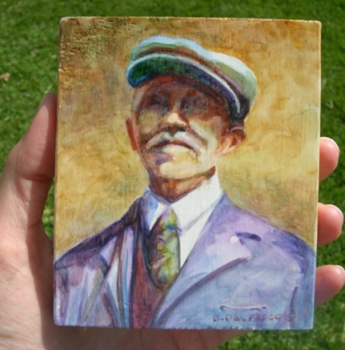 a small portrait of a man with a big white moustache and a cap on his head, and a suit and tie, from the shoulders up, done in watercolor