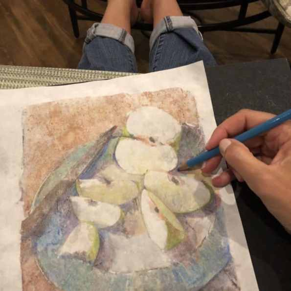 adding colored pencil to a color monotype