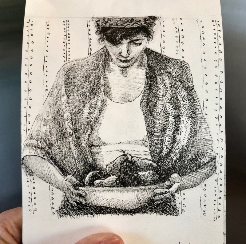 a pen and ink drawing of a woman holding a bowl of fruit
