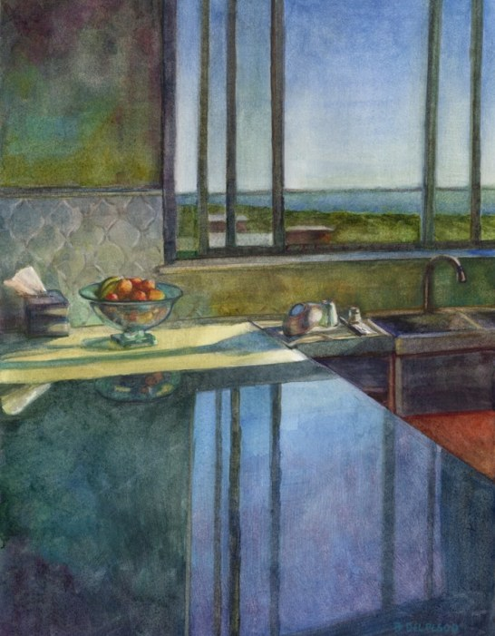 a kitchen window looking across an expanse to the sky & ocean, casting a reflection on a shiny counter in reverse