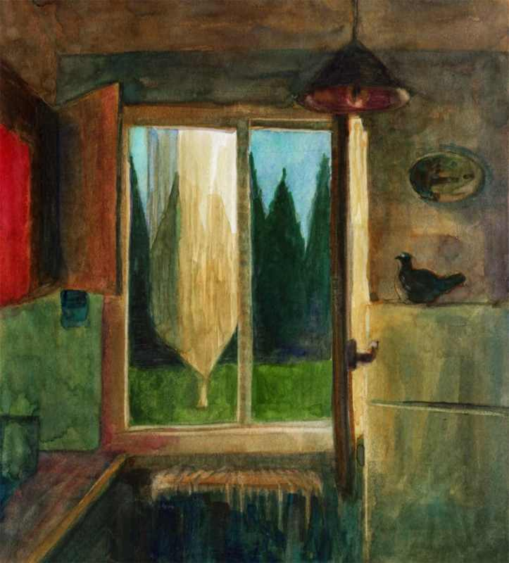 a watercolor sketch of a kitchen window in a rental in Provence, France