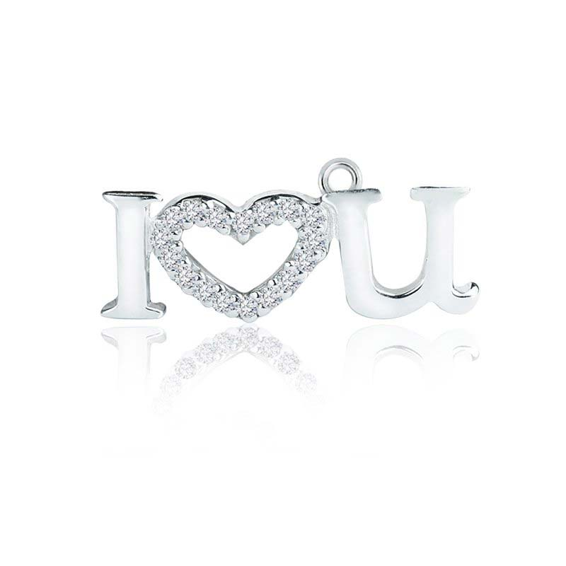 Sterling Silver I love U charm pendant with White CZ