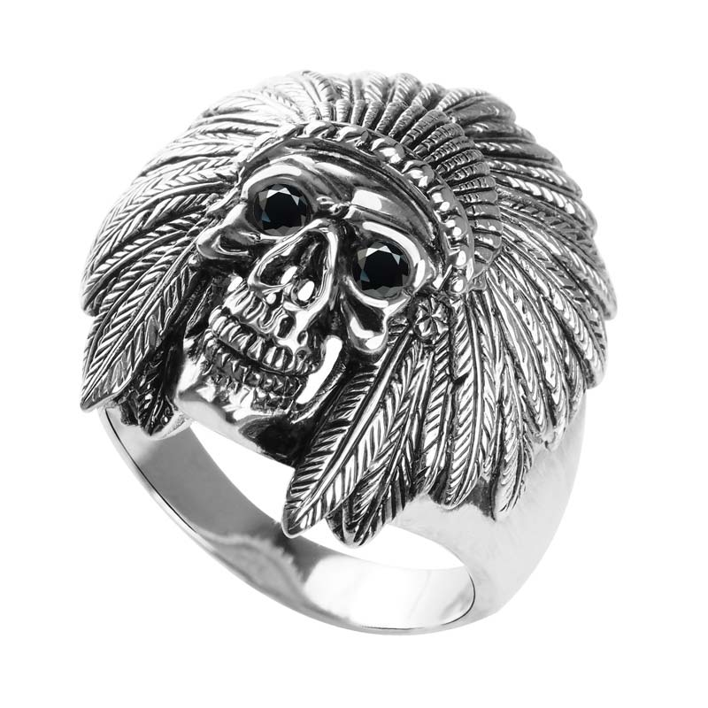 Sterling Silver Native American Ring with empty grin horned helmet