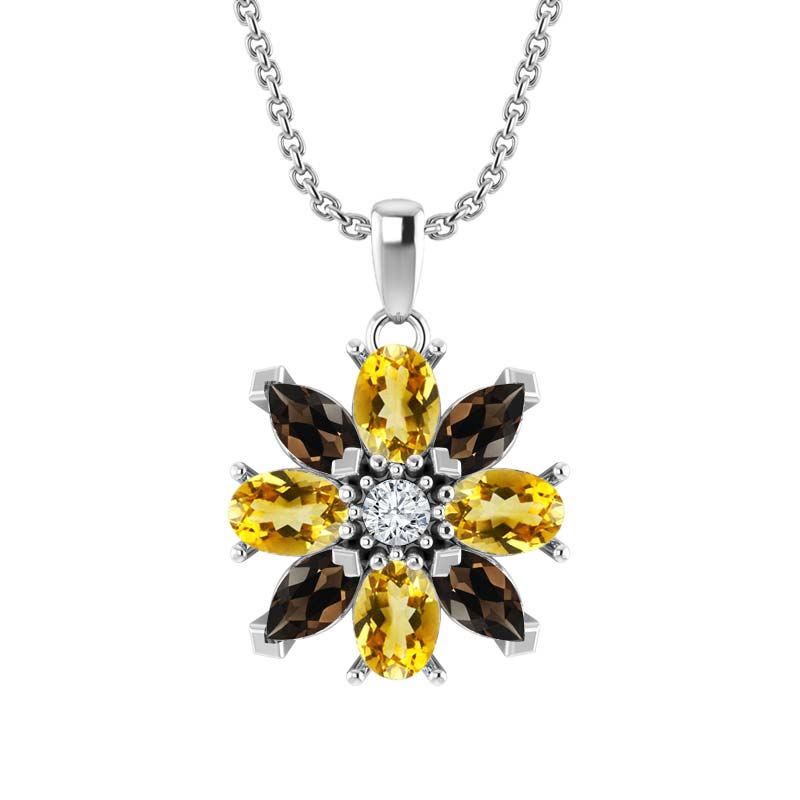 Sterling Silver Garnet and Citrine Flower Pendant Necklace
