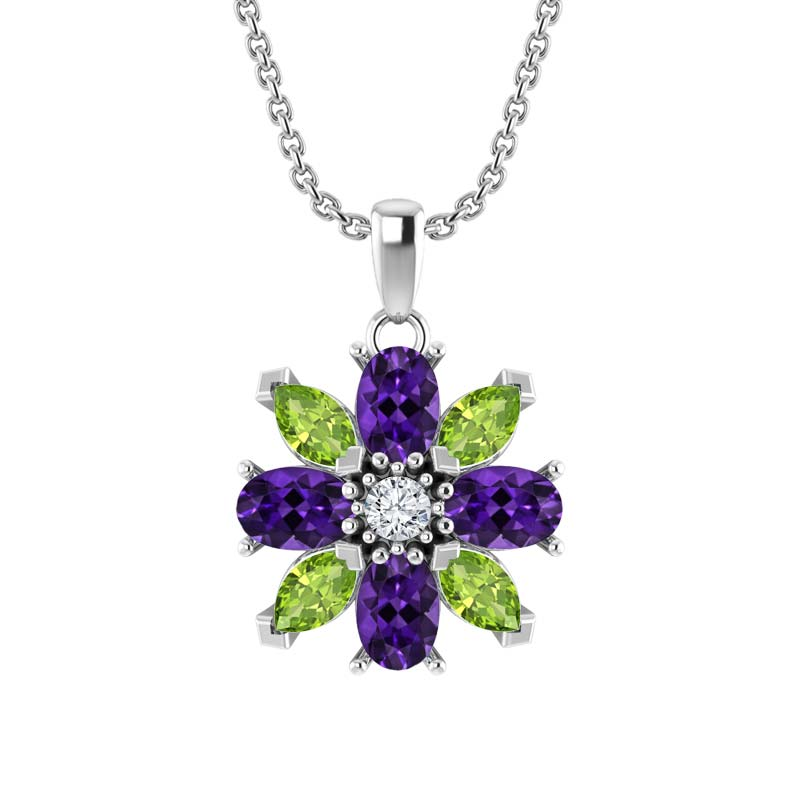 Sterling Silver Amethyst and Peridot Flower Pendant Necklace