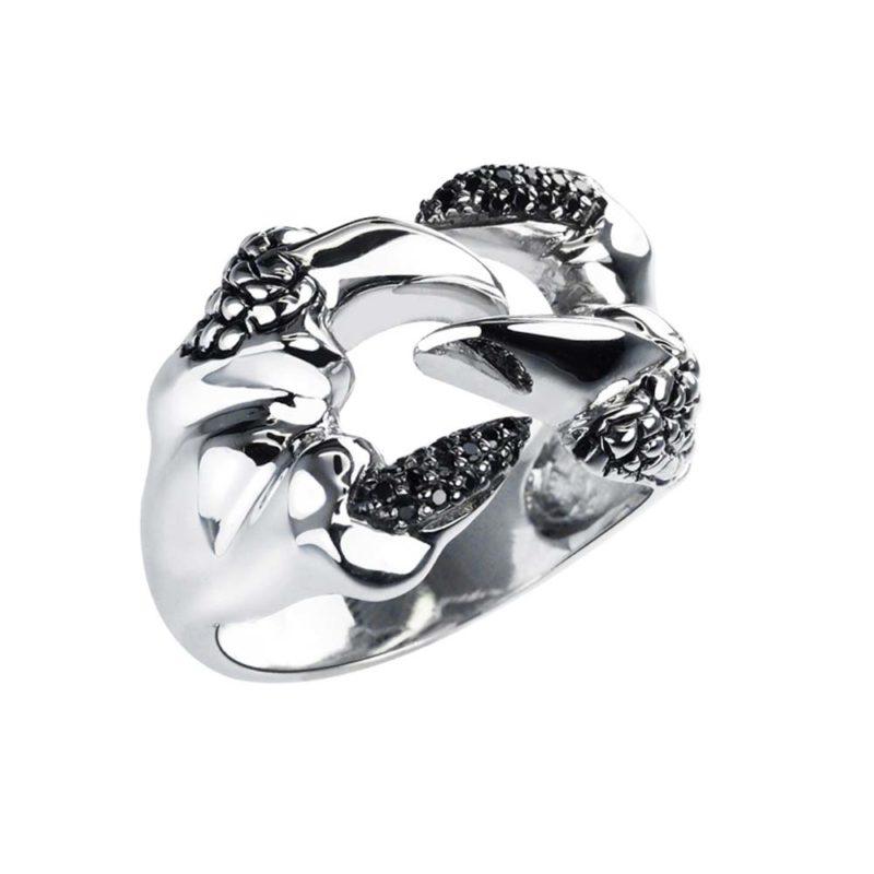 Biker ring featuring Snake's fangs