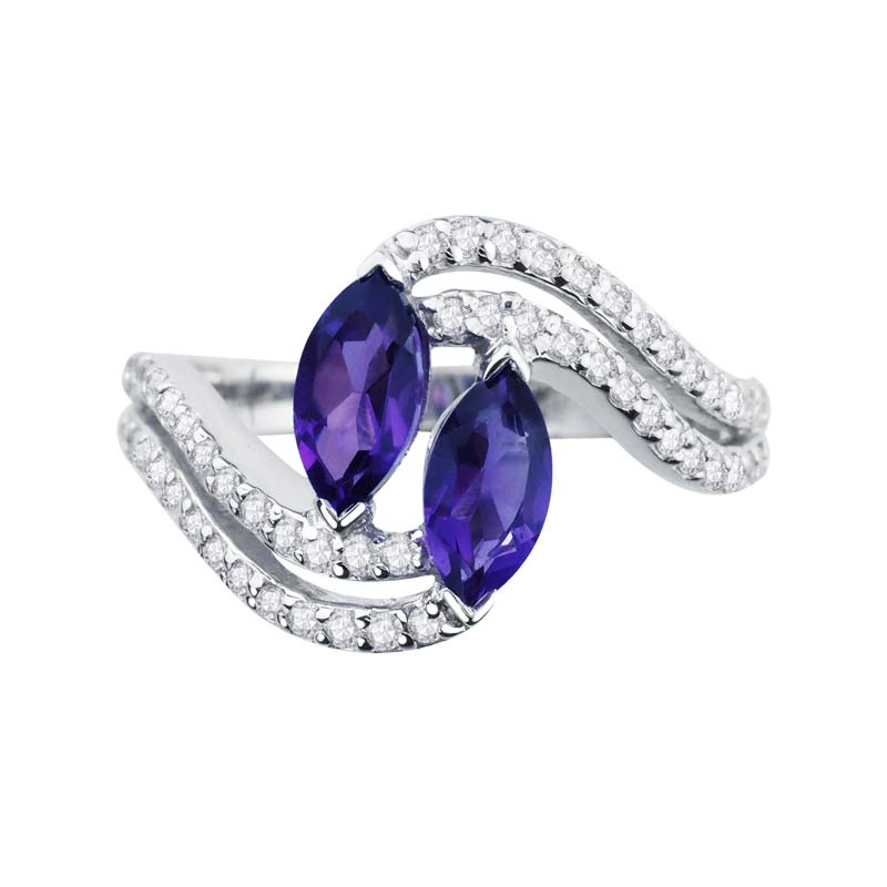 Express desire to be together ring with two Amethyst