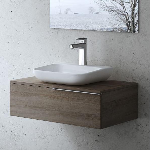 Badezimmermbel Gste WC Waschbecken und Unterschrank in Nussbaum Braun