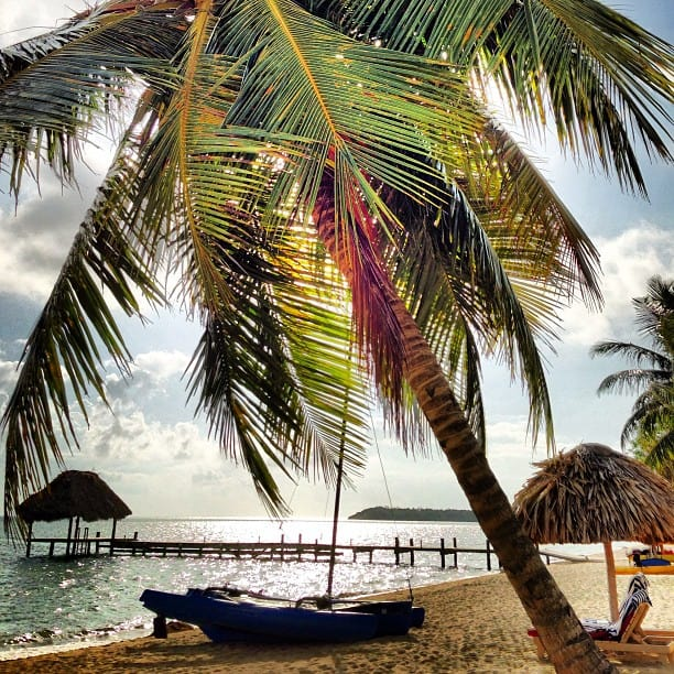 belize morning beach view