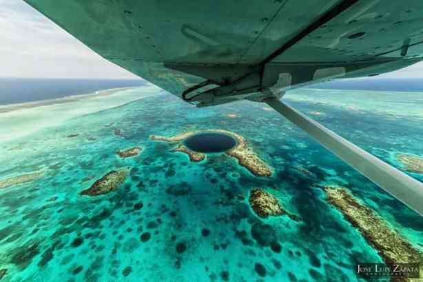 Flying over the Belize Blue Hole